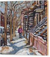 Scenes De Ville De Montreal En Hiver Original Quebec Art For Sale Montreal Street Scene Wood Print