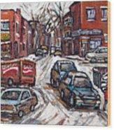 Ville Emard En Peinture Scenes De Ville De Montreal En Hiver Petit Format A Vendre Wood Print