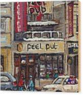 Rue Peel Montreal En Hiver Parie De Hockey De Rue Peel Pub Wood Print