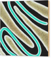 Abstract 35 Golden Tan Green Turquoise Wood Print