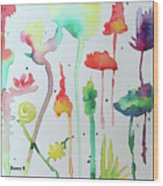 Blob Flowers Wood Print