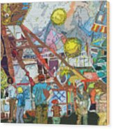 Abstract Amusement Park Wood Print
