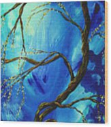 Abstract Art Asian Blossoms Original Landscape Painting Blue Veil By Madart Wood Print