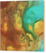 Abstract Art Colorful Turquoise Rust River Of Rust I By Madart  Wood Print