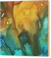 Abstract Art Colorful Turquoise Rust River Of Rust IIi By Madart Wood Print