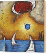 Abstract Art Contemporary Coastal Cityscape 3 Of 3 Capturing The Heart Of The City I By Madart Wood Print