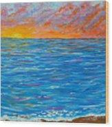 Abstract Art- Flaming Ocean Wood Print