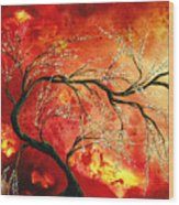 Abstract Art Floral Tree Landscape Painting Fresh Blossoms By Madart Wood Print