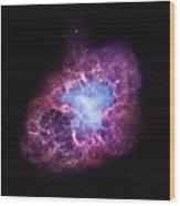 Abstract Heavenly Art - The Crab Nebula Wood Print