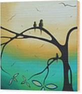 Abstract Art Landscape Bird Painting Family Perch By Madart Wood Print