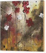 Abstract Art Original Flower Painting Floral Arrangement By Madart Wood Print