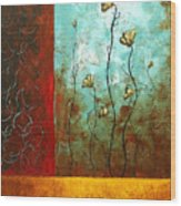 Abstract Art Original Poppy Flower Painting Subtle Changes By Madart Wood Print
