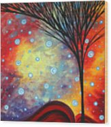 Abstract Art Whimsical Landscape Painting Morning Bliss By Madart Wood Print