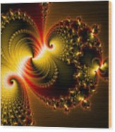 Abstract Art Yellow Golden Red Metal Effect Wood Print