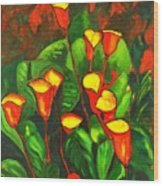 Abstract Arum Lilies Wood Print