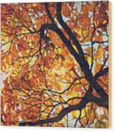 Abstract Autumn Impression Wood Print