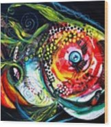 Abstract Baboon Fish Wood Print