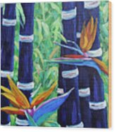 Abstract Bamboo And Birds Of Paradise 04 Wood Print