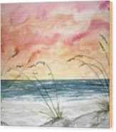Abstract Beach Painting Wood Print