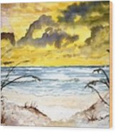 Abstract Beach Sand Dunes Wood Print