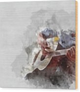 Abstract Beautiful Playing Guitar In The Foreground On Watercolor Painting Background. Wood Print