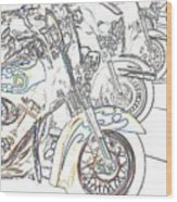 Abstract Bikes Wood Print