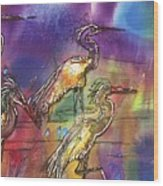 Abstract Birds Wood Print