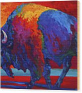 Abstract Bison Wood Print