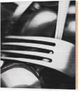 Abstract Black And White Photo Of Mixed Silver Forks Wood Print