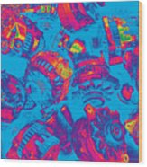 Abstract Blue-red Multi Colors Junk Wood Print