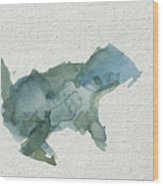 Abstract Blue Squirrel Wood Print