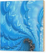 Abstract Blue Winter Fractal Wood Print