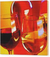 Abstract Bottle Of Wine And Glasses Of Red And White Wood Print