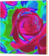 Burgundy Rose Abstract Wood Print