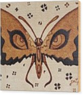 Abstract Butterfly Coffee Painting Wood Print