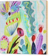 Abstract Cactus And Flowers Wood Print