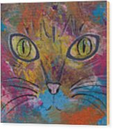 Abstract Cat Meow Wood Print