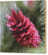 Abstract Christmas Card - Red Pine Cone Blast Wood Print