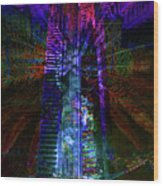 Abstract City In Purple Wood Print