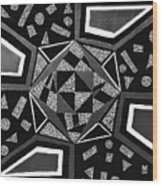 Abstract Cobblestone Blk/wht. Wood Print