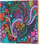 Abstract Colorful Floral Design Wood Print