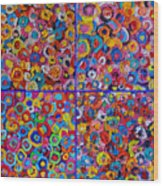 Abstract Colorful Flowers 4 Wood Print