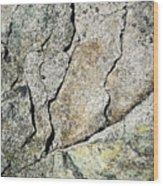 Abstract Cracks On A Granite Block Of Stone Wood Print