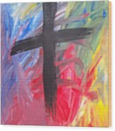 Abstract Cross Wood Print