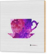 Abstract Cup Of Tea Silhouette Wood Print