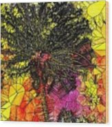 Abstract Dandelion Stained Glass Wood Print