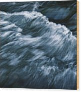 Abstract Dark Waves On The River Wood Print