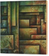 Abstract Design 102 Wood Print by Michael Lang