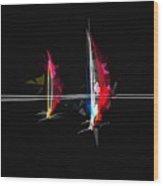 Abstract Digital Boats Wood Print