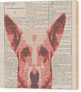 Abstract Dog On Dictionary Wood Print